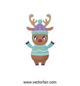 cute reindeer with hat on white background