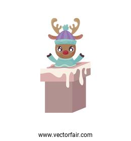 cute reindeer entering the chimney on white background