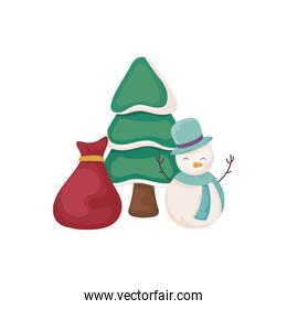 cute snowman with bag of gifts and christmas tree on white background