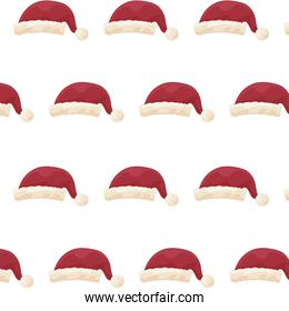 pattern of red santa claus hat on white background