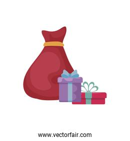 full red bag of gifts from santa claus on white background