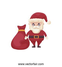 santa claus with bag of gifts on white background