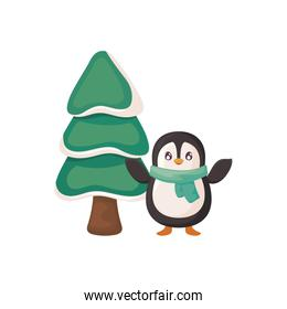 penguin with scarf and christmas tree on white background