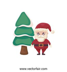 santa claus with christmas trees on white background