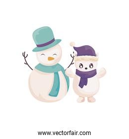 snowman and polar bear with hat and scarf on white background
