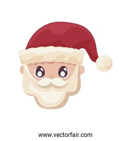 head of santa clous in white background