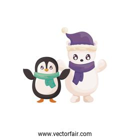 penguin and polar bear with scarf on white background