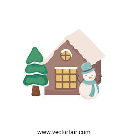 snowman with house and christmas trees on white background