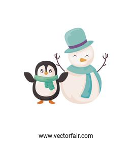 penguin and snowman with scarf on white background