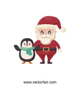 santa claus with penguin on white background