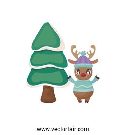 reindeer with christmas tree on white background