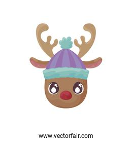 head of reindeer with hat on white background