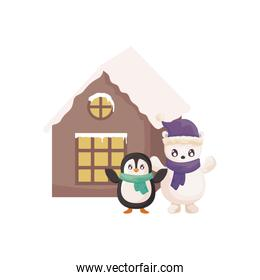 penguin and polar bear with family house of background