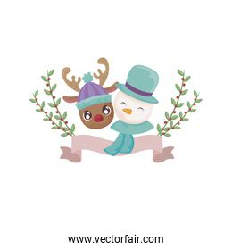 head of snowman and reindeer on white background