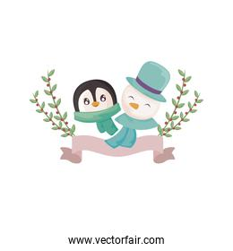head of penguin and snowman on white background