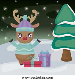 reindeer with gift boxes on winter landscape