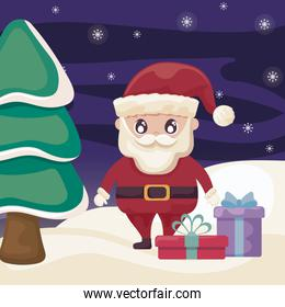 santa claus with gift boxes in winter landscape