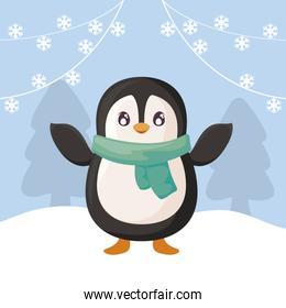 cute penguin with scarf on winter landscape