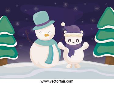 snowman and polar bear with hat and scarf on winter landscape