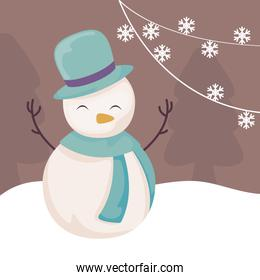 cute snowman with hat and scarf on winter landscape