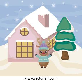 cute reindeer with house and christmas trees on winter landscape