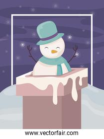 cute snowman entering the chimney on winter landscape