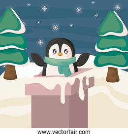 cute penguin entering the chimney on winter landscape