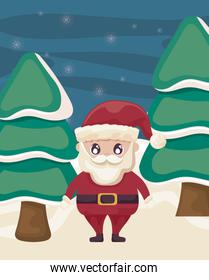 santa claus with trees on christmas landscape