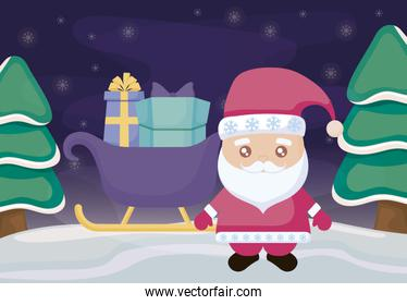 santa claus with sled and gift boxes on winter landscape