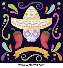 card of skull with mexican hat, mexican food