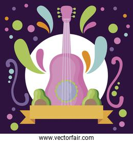 musical instrument guitar with avocados