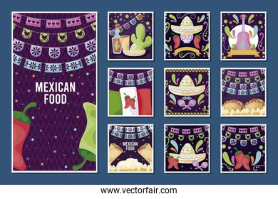 set of card of Mexican food