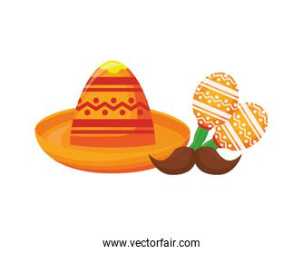 mexican hat with maraca in white background