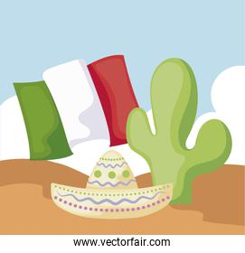 cactus with mexican hat and desert in the background