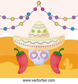 mexican skull with hat and desert in the background