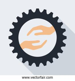 Industrial wheel with hands, vector illustration