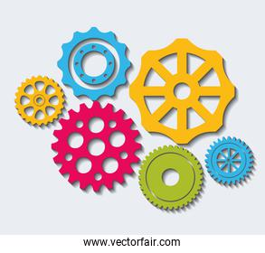 Industrial wheel with colors design, vector illustration