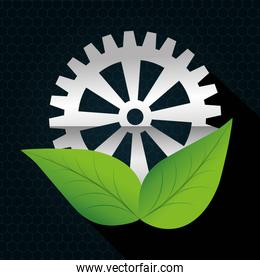 Industrial wheel design with leaves, vector illustration