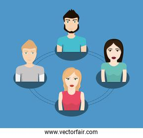 People icon. Connections concept. Flat illustration. Social medi