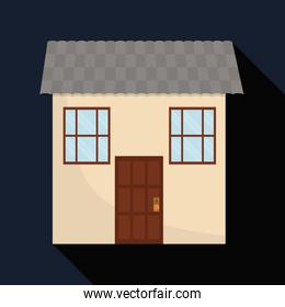 Family House. Home icon with door and windows, graphic design