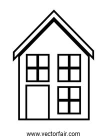Home family. House with door and windows. silhouette design, vec