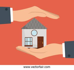 Home design. Human hand icon. Vector graphic