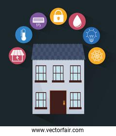 Smart House design. Technology icon. vector graphic