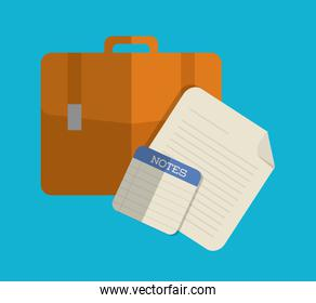Suitcase and papers icon. Office design. Vector graphic