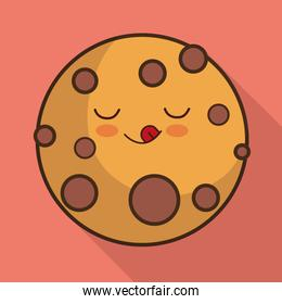 Breakfast design. Kawaii cookie icon. Vector graphic