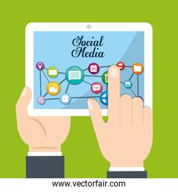 Multimedia icon set. tablet and hands design. vector graphic