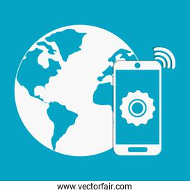 Planet and smartphone. Internet of things design. vector graphic