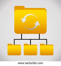 Yellow folder. File icon. Vector graphic