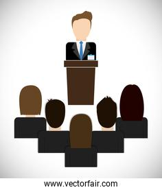 Businesspeople on presentation icon. Business design. Vector gra
