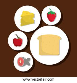 Food icon set. Nutrition and Organic design. Vector graphic